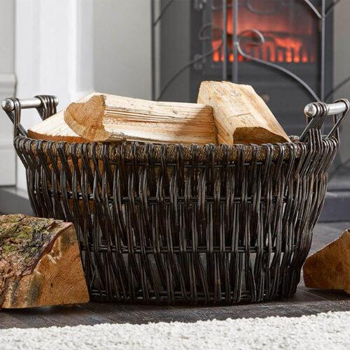 dark wicker basket