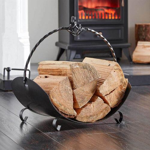 log rack ornate handle