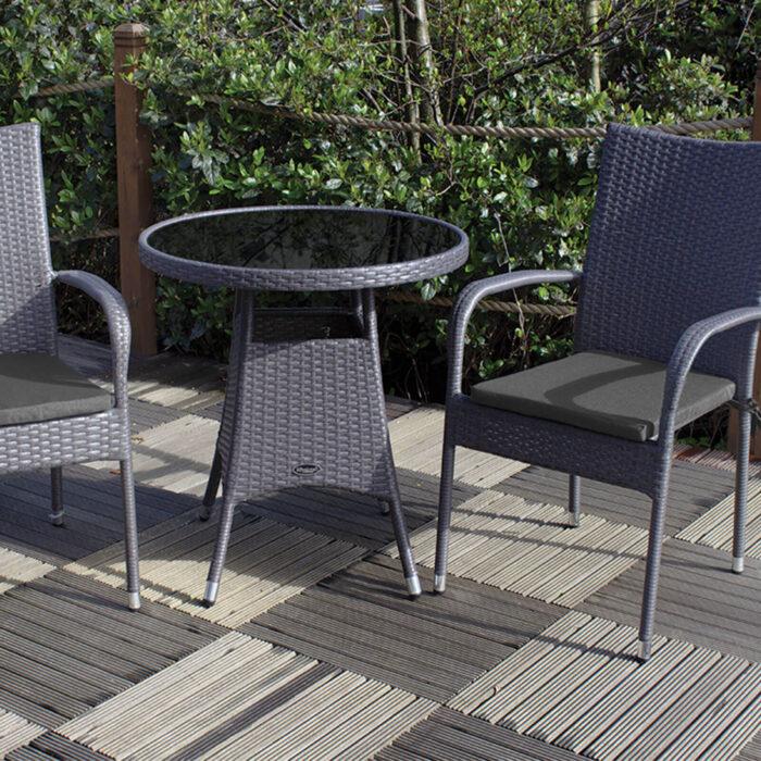 2 seater bistro coffee rattan furniture set on patio garden
