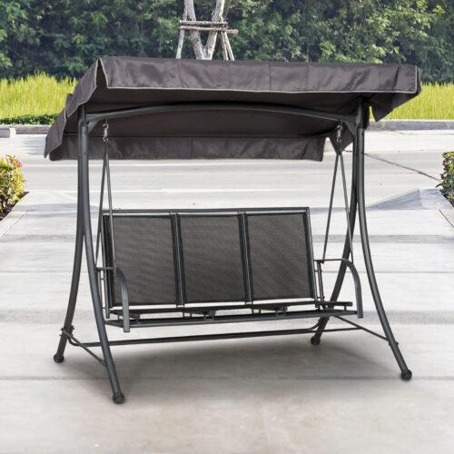 Black 3 seat swing hammock on a patio