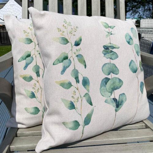 eucalyptus printed fabric cushion for home living room sofa or garden patio furniture