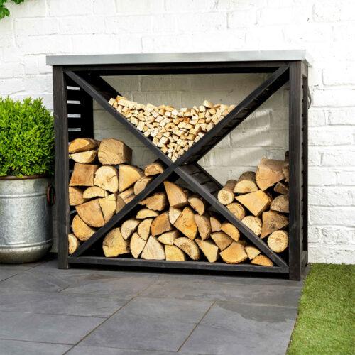 black spruce wood log holder or rack with cross design to multiple log storage spaces in black with steel top