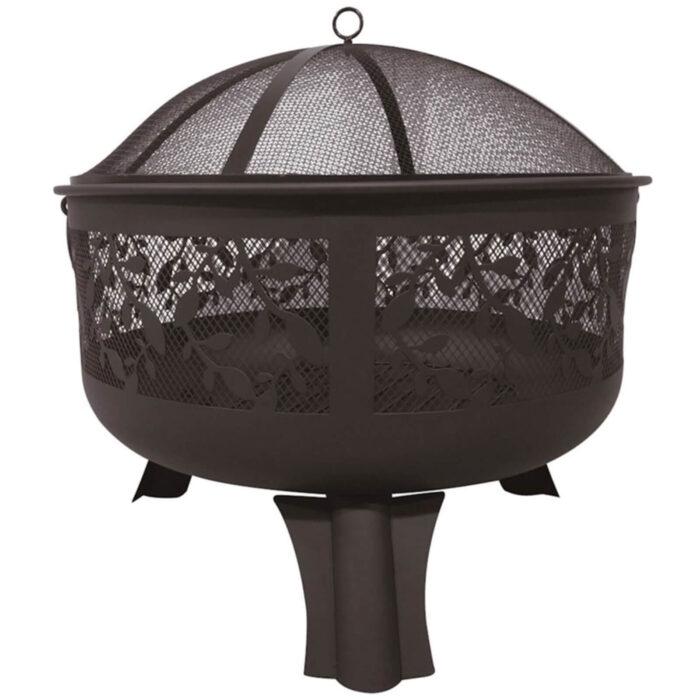woodlodge steel firepit with leave design on mesh lid